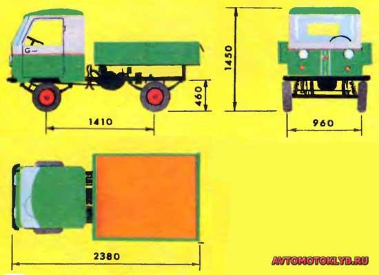 Внешний вид и габаритные размеры самодельного мини-грузовика