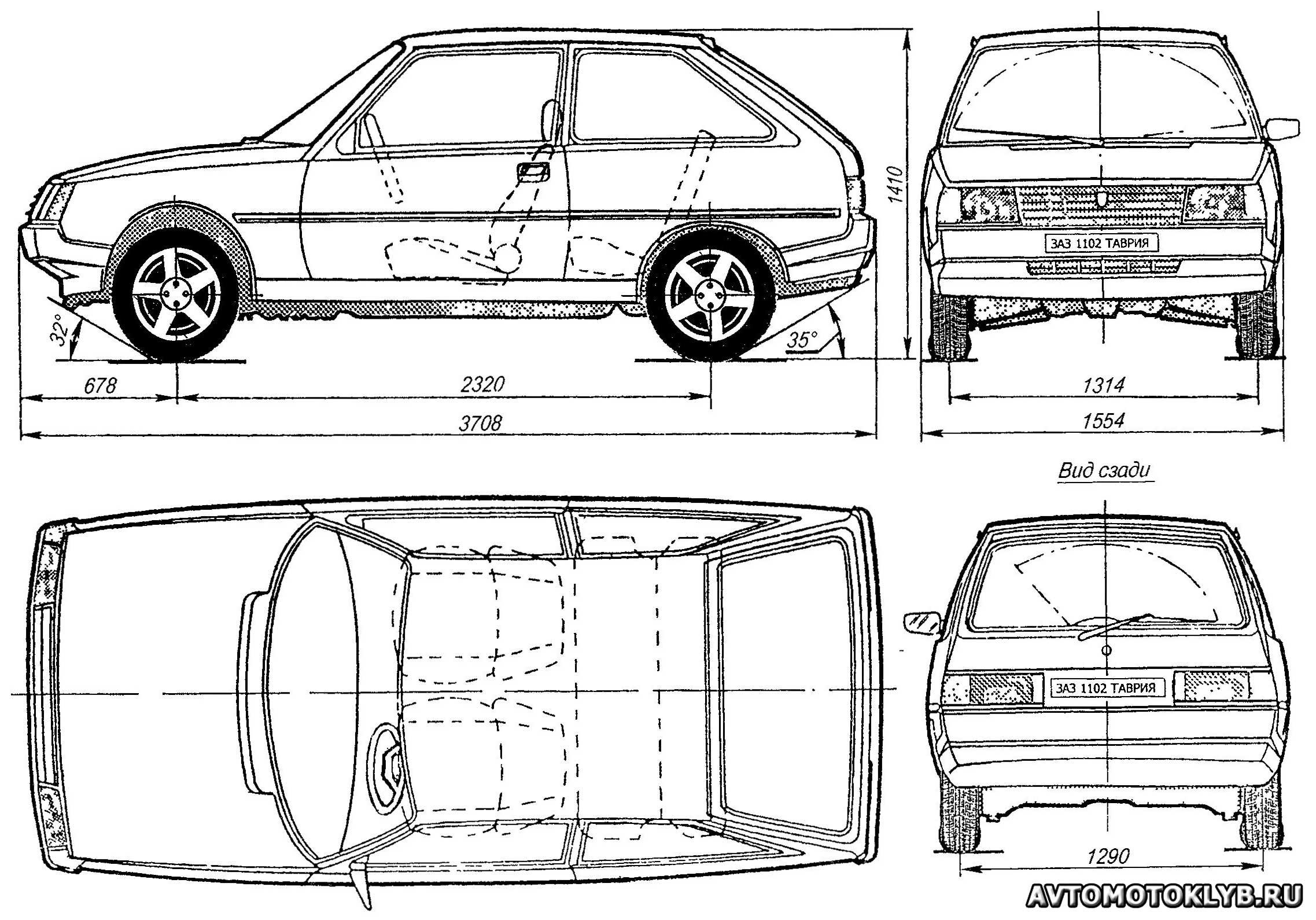"""Схема автомобиля ЗАЗ-1102  """"Таврия """" ."""