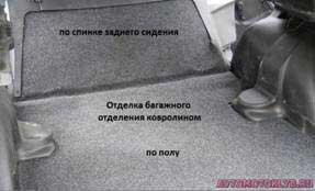 Отделка багажного отделения ковролином по полу и по спинке заднего сидения