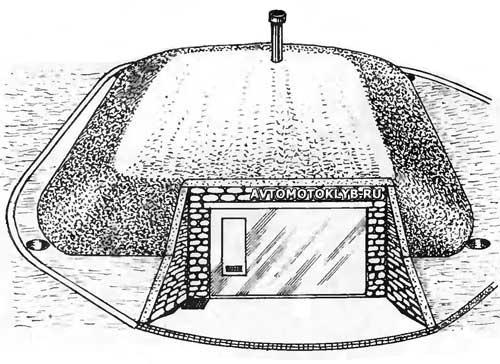 Полуподземный гараж – строительство обвалованного заглубленного гаража своими руками