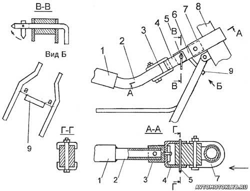 Сцепное устройство самодельной тележки для велосипеда