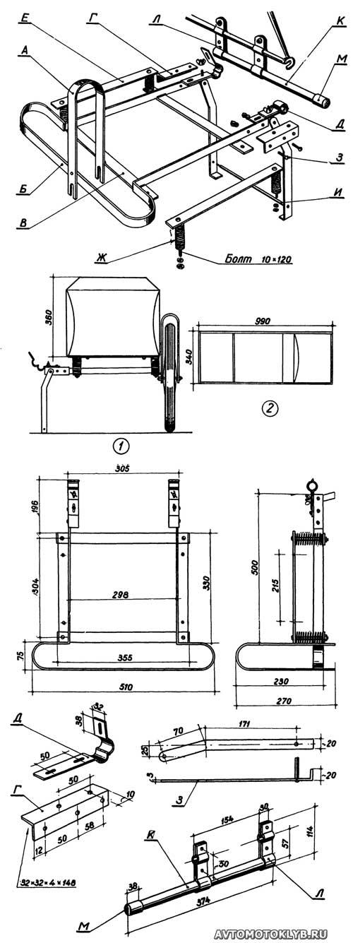 Конструкция коляски для велосипеда